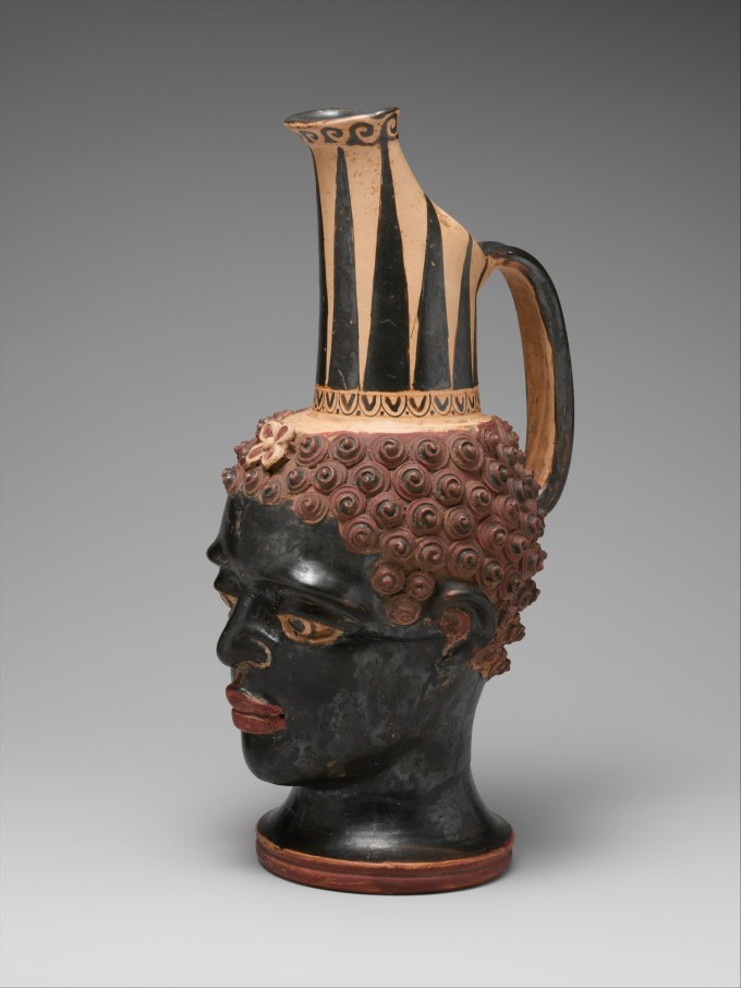 Terracotta vase in the form of a black African youth's head