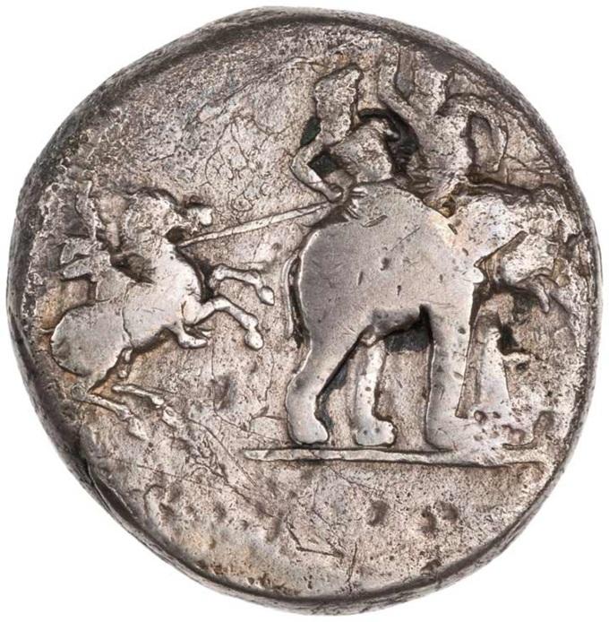 Aleksander Wielki szarżuje na słonia nad rzekąHydaspes