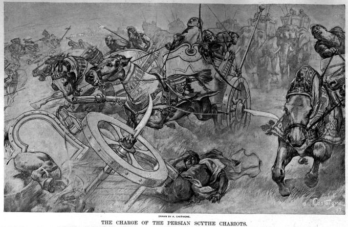 1024px-The_charge_of_the_Persian_scythed_chariots_at_the_battle_of_Gaugamela_by_Andre_Castaigne_(1898-1899)