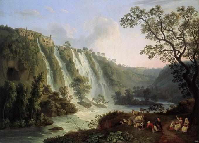 Hackert,_Villa_des_Maecenas_und_Wasserfälle_in_Tivoli,_1783